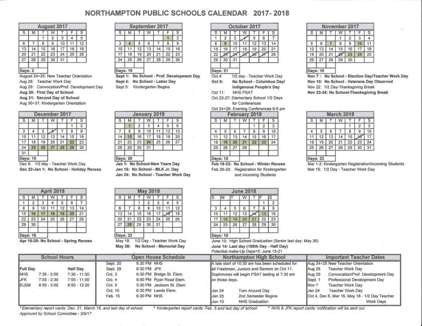 2017-2018 NPS Calendar